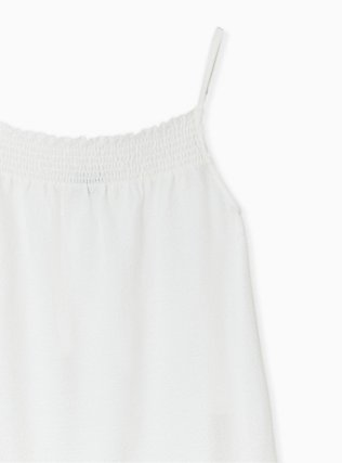 Ivory Crinkled Gauze Smock Neck Cami, CLOUD DANCER, alternate