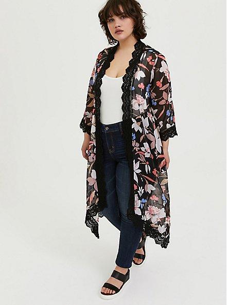 Plus Size Black Floral Chiffon Crochet Kimono, FLORAL, alternate