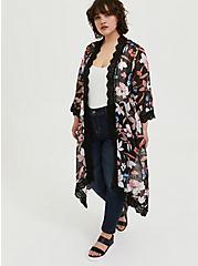 Black Floral Chiffon Crochet Kimono, FLORAL, alternate