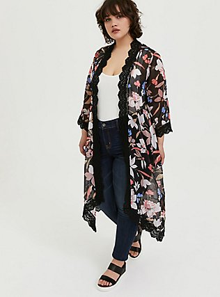 Plus Size Black Floral Chiffon Crochet Kimono, FLORAL, alternate
