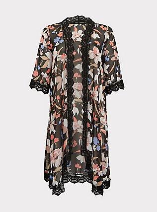 Plus Size Black Floral Chiffon Crochet Kimono, FLORAL, flat