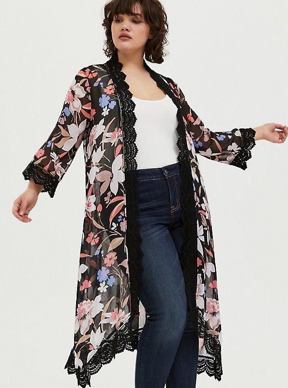 Plus Size Black Floral Chiffon Crochet Kimono, , hi-res
