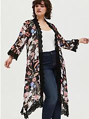 Black Floral Chiffon Crochet Kimono, FLORAL, hi-res