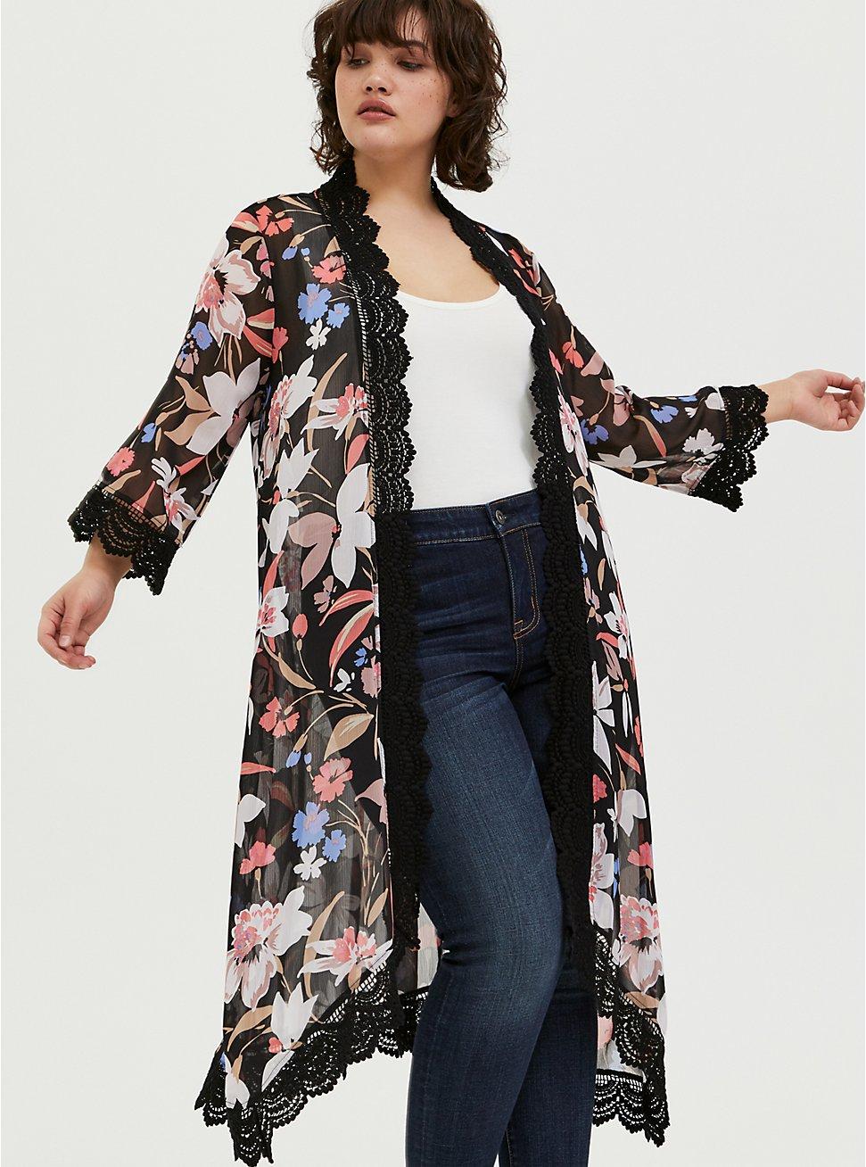 Plus Size Black Floral Chiffon Crochet Kimono, FLORAL, hi-res