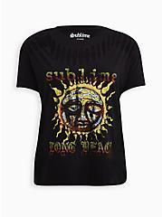 Sublime Long Beach Sun Black Slashed Tee, DEEP BLACK, alternate