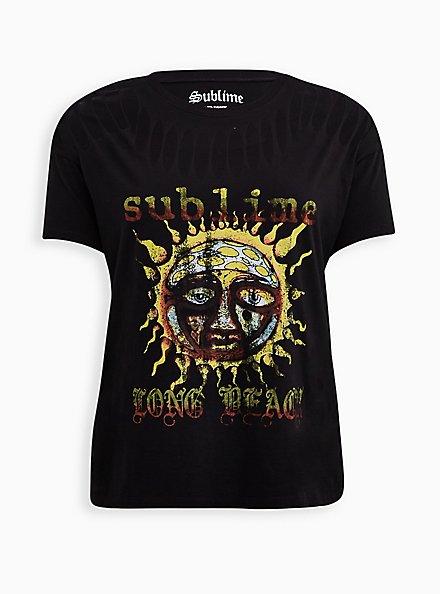 Sublime Long Beach Sun Black Slashed Tee, DEEP BLACK, hi-res