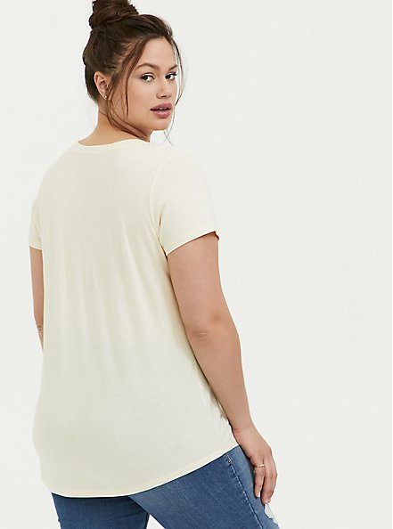 Plus Size Classic Fit V-Neck Tee - Heritage Cotton Light Yellow, BUTTER YELLOW, alternate