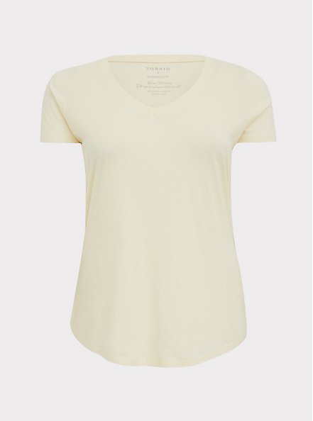 Plus Size Classic Fit V-Neck Tee - Heritage Cotton Light Yellow, BUTTER YELLOW, hi-res