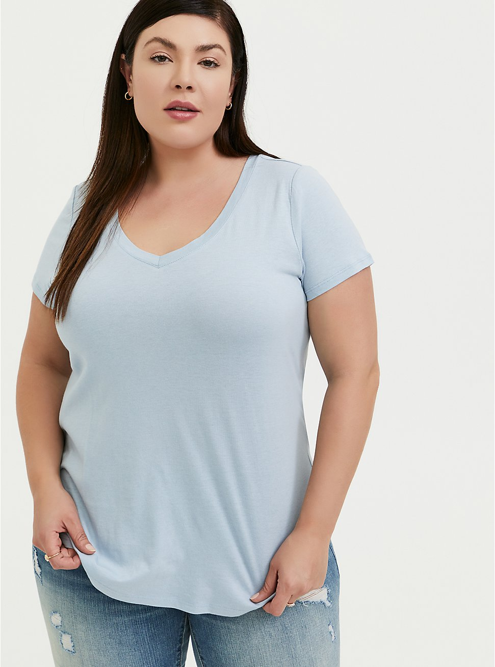Classic Fit V-Neck Tee - Heritage Cotton Light Blue, BLUE FOG, hi-res
