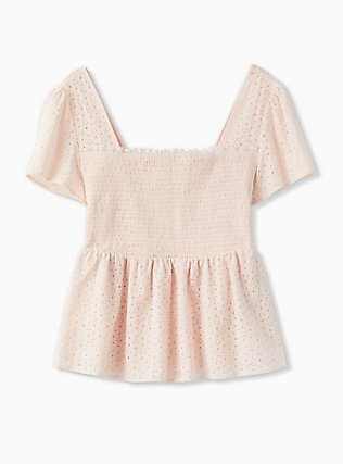 Light Pink Eyelet Smocked Midi Peplum Top, PEACH BLUSH, flat
