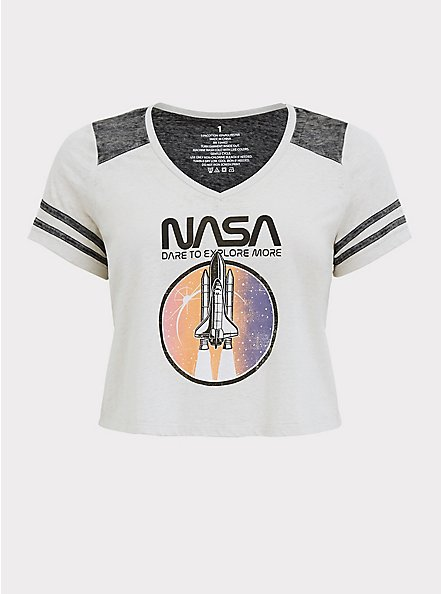 NASA Burnout White & Black Crop Football Tee, DEEP BLACK, hi-res
