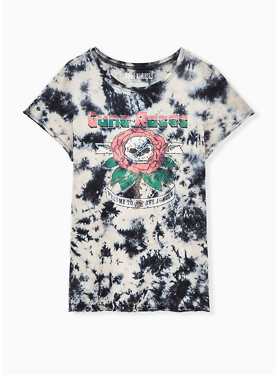 Guns & Roses Black Tie-Dye Crew Tee, DEEP BLACK, hi-res