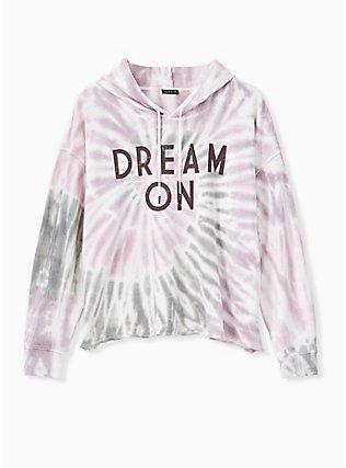 Dream On Multi Tie Dye Crop Hoodie, MULTI, flat