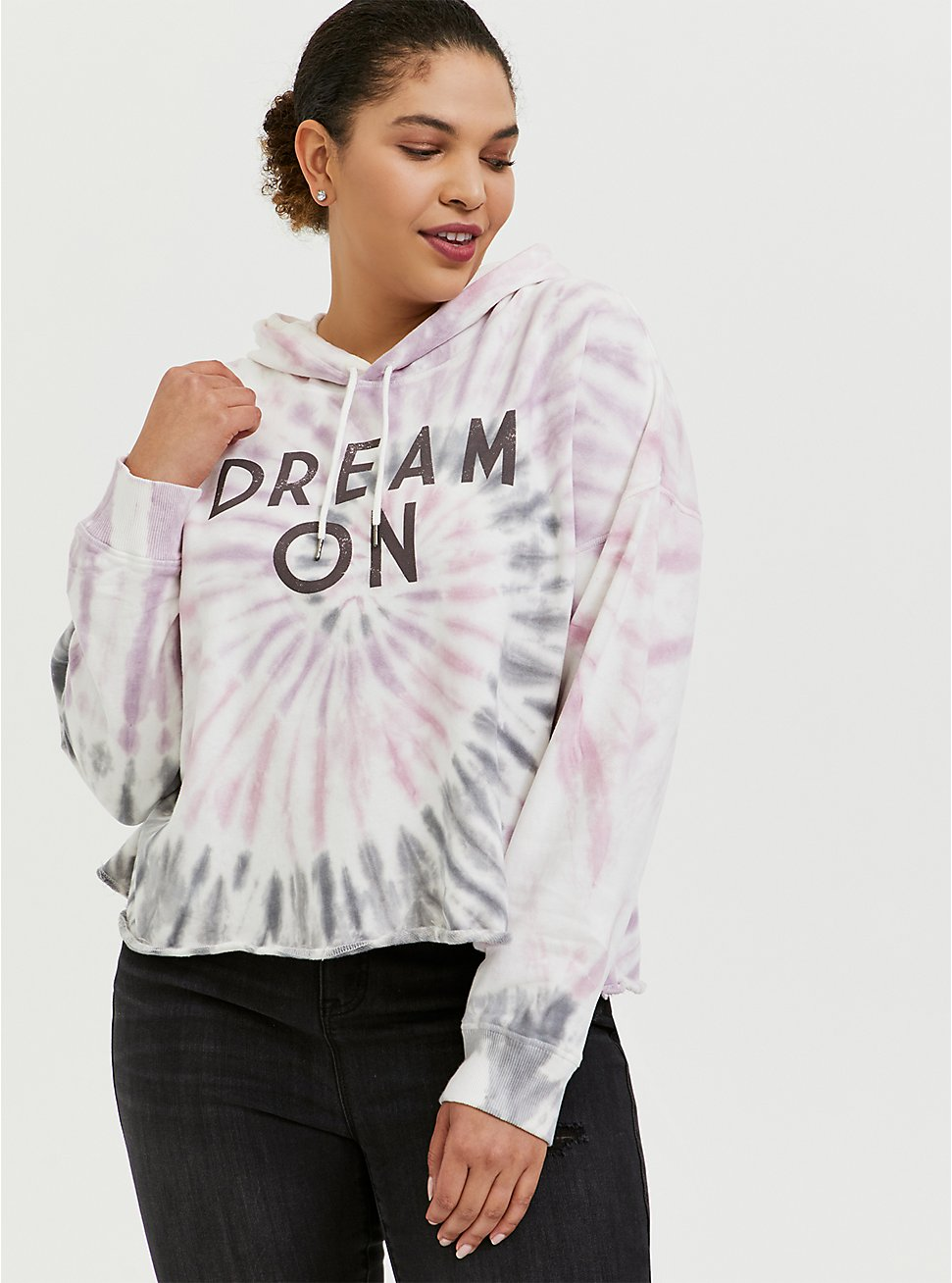 Dream On Multi Tie Dye Crop Hoodie, MULTI, hi-res