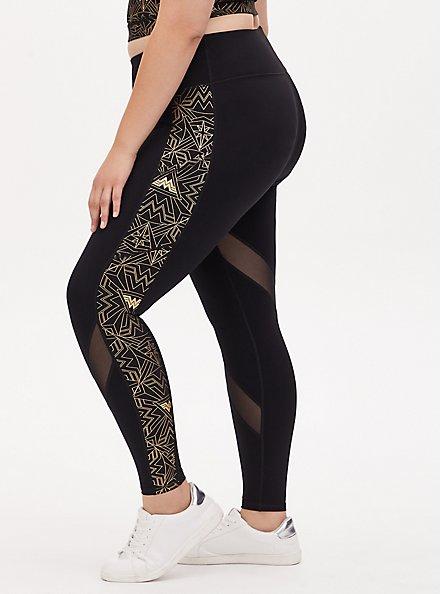 Wonder Woman 84 Logo Gold & Black Crop Active Legging with Pockets, DEEP BLACK, alternate