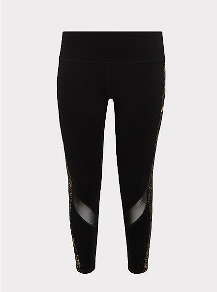 Wonder Woman 84 Logo Gold & Black Crop Active Legging with Pockets, DEEP BLACK, hi-res