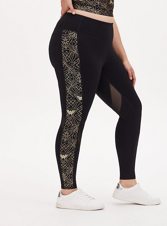 Wonder Woman 84 Logo Gold & Black Crop Active Legging with Pockets, , hi-res