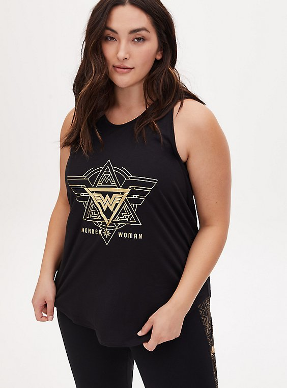 Wonder Woman 84 Logo Black Keyhole Back Active Tank, , hi-res