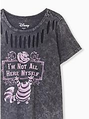 Plus Size Disney Animals Alice In Wonderland Cheshire Cat Black Mineral Wash Slashed Top, DEEP BLACK, alternate