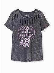 Plus Size Disney Animals Alice In Wonderland Cheshire Cat Black Mineral Wash Slashed Top, DEEP BLACK, hi-res