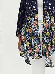 Plus Size Navy Floral Crepe Kimono, FLORAL, alternate