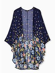Plus Size Navy Floral Crepe Kimono, FLORAL, hi-res