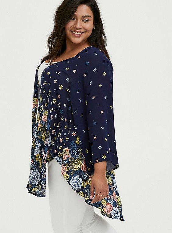 Plus Size Navy Floral Crepe Kimono, , hi-res