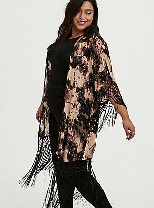 Black Tie-Dye Crepe Fringe Kimono, TIE DYE-BLACK, alternate