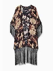 Black Tie-Dye Crepe Fringe Kimono, TIE DYE-BLACK, hi-res