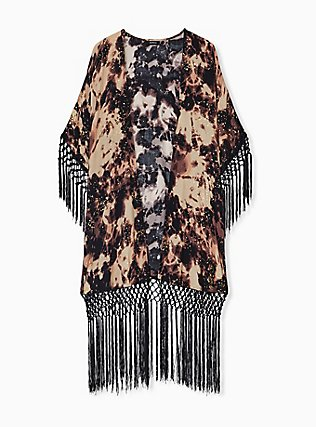 Black Tie-Dye Crepe Fringe Kimono, TIE DYE-BLACK, flat