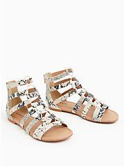 Plus Size Snakeskin Print Faux Leather Gladiator Sandal (WW), ANIMAL, alternate