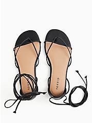 Black Faux Leather Ankle Wrap Gladiator Sandal (WW), BLACK, alternate