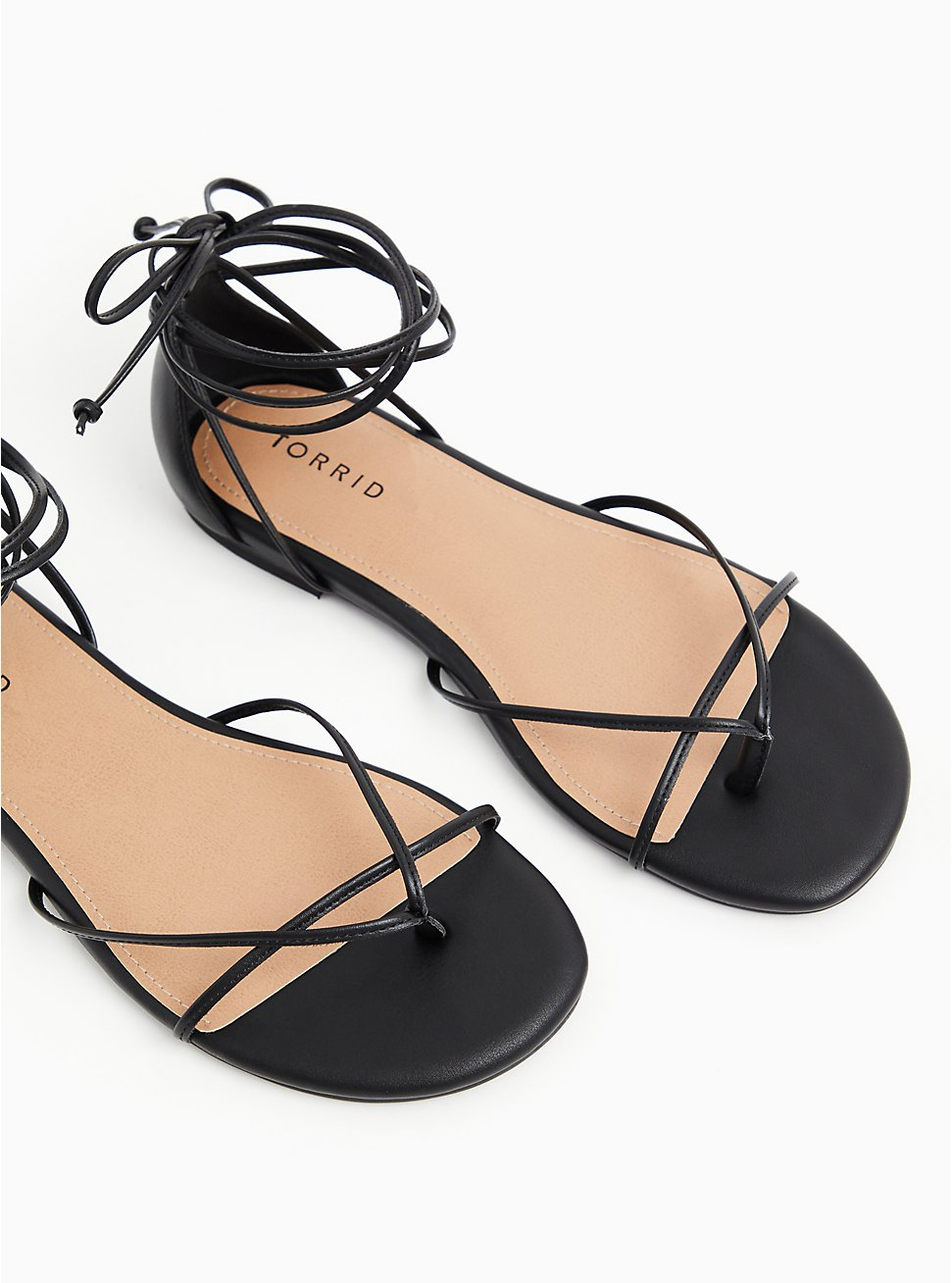 Black Faux Leather Ankle Wrap Gladiator Sandal (WW), BLACK, hi-res