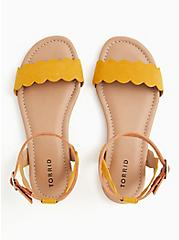 Plus Size Mustard Yellow Faux Suede Scalloped Sandal (WW), YELLOW, alternate