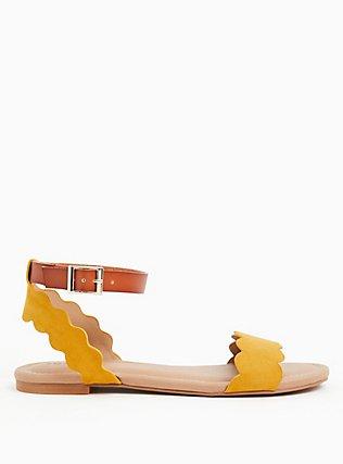 Mustard Yellow Faux Suede Scalloped Sandal (WW), YELLOW, alternate
