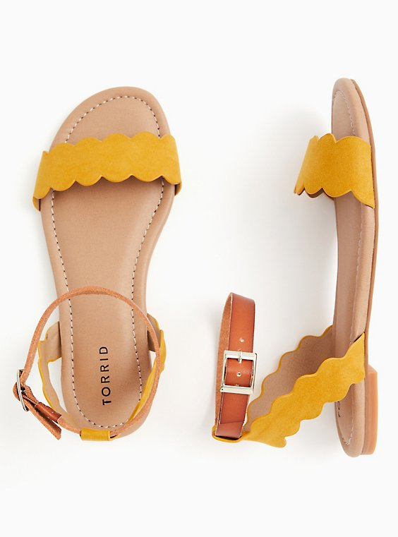 Plus Size Mustard Yellow Faux Suede Scalloped Sandal (WW), , hi-res