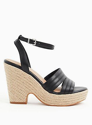 Black Faux Leather Espadrille Platform (WW), BLACK, alternate