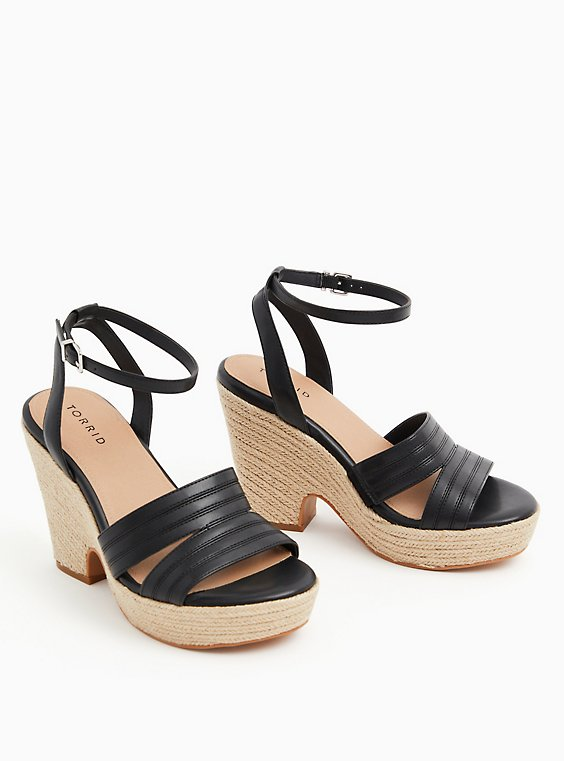 Black Faux Leather Espadrille Platform (WW), , hi-res