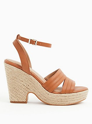 Cognac Faux Leather Platform Espadrille Cone Heel (WW), TAN/BEIGE, alternate