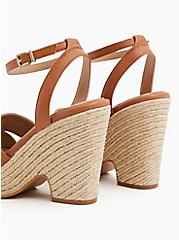 Cognac Faux Leather Platform Espadrille Cone Heel (WW), , alternate