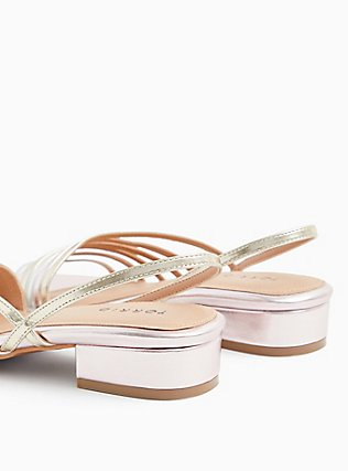 Rose Gold Faux Leather Slingback Low Heel (WW), GOLD, alternate