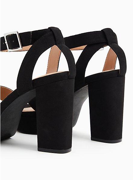 Plus Size Black Faux Suede Platform Block Heel (WW), BLACK, alternate
