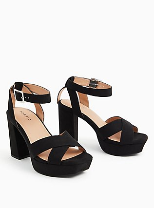 Black Faux Suede Platform Block Heel (WW), BLACK, alternate