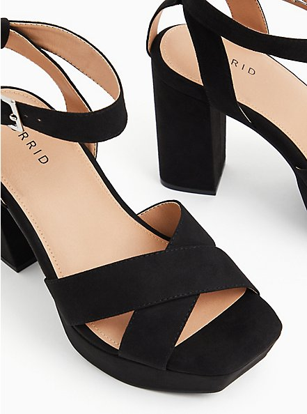 Plus Size Black Faux Suede Platform Block Heel (WW), BLACK, hi-res