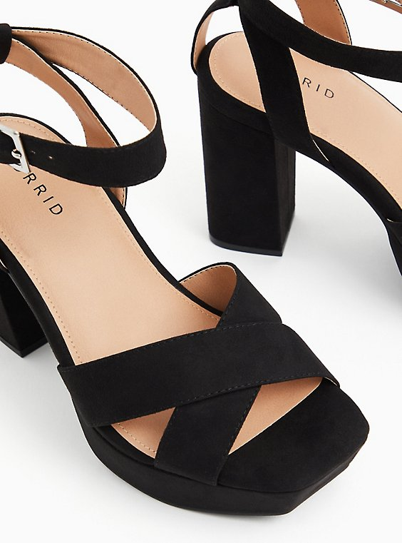 Black Faux Suede Platform Block Heel (WW), , hi-res