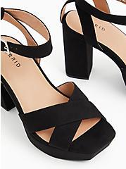 Black Faux Suede Platform Block Heel (WW), BLACK, hi-res