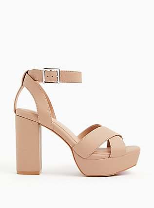 Nude Faux Leather Platform Block Heel (WW), NUDE, alternate