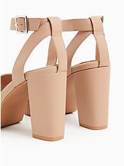 Beige Faux Leather Platform Block Heel (WW), , alternate