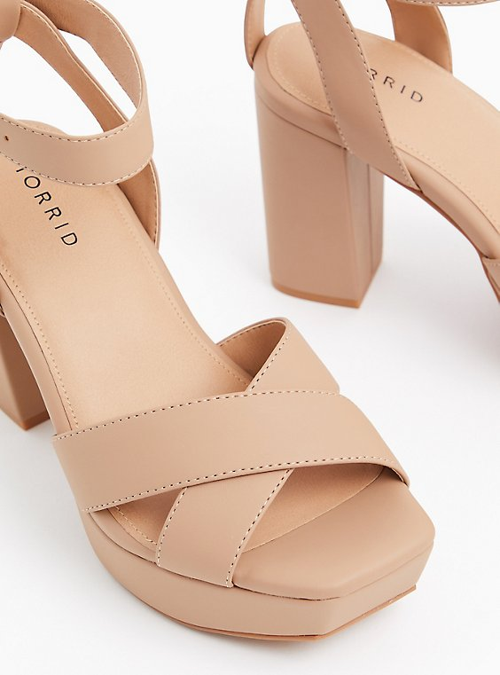 Nude Faux Leather Platform Block Heel (WW), , hi-res