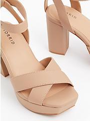 Beige Faux Leather Platform Block Heel (WW), , hi-res